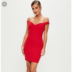 Misguided Red Sweetheart Bardot Dress